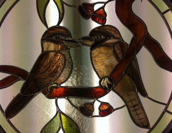 leadlight door glass with birds